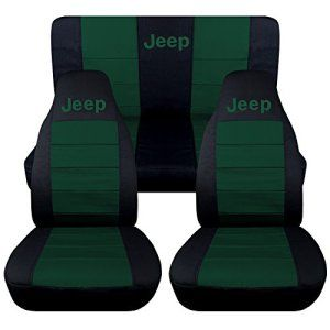 Front and Rear Black and Emerald Green Jeep Wrangler TJ Seat Covers