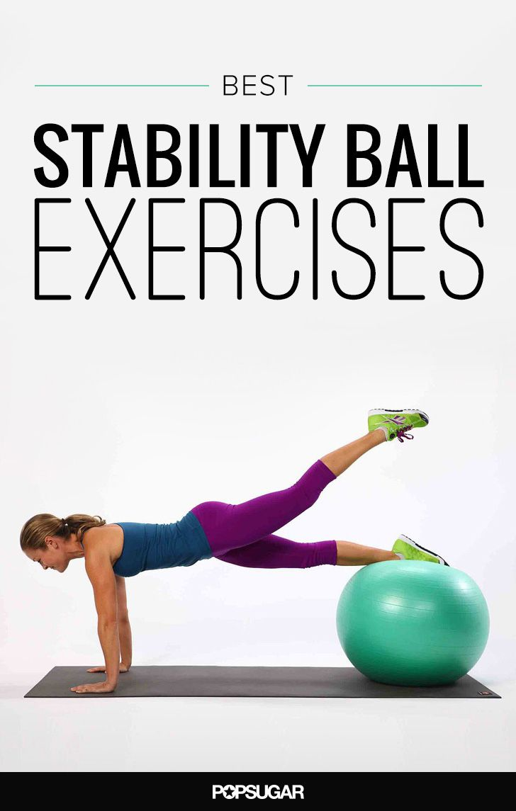 The Most Effective Ball Exercises Everyone Should Be Doing to Strength Train (leg up push ups, 1 leg roll squats, ball lift up on side, superman lift ups)