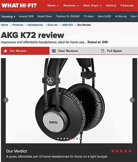 """""""The AKG K72s look and feel great given how cheap they are, but the real draw here is the sound. It's expansive, with width and scale just not heard in the kind of headphones found on the high street at £40"""". The AKG K72 – the final model… - read more on our website #news... . . . #akg #audio #review #whathifi #k72 #akgaudio #headphones #sound #listen #quality #soundtechuk #magazine #5star #affordable #great #impressive #homeaudio #audiophile"""