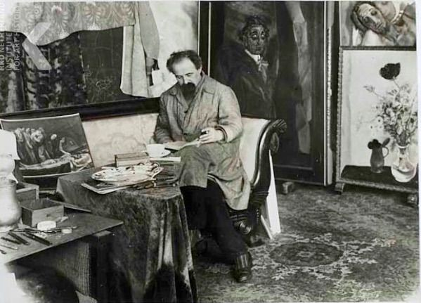 Jan Sluyters in zijn atelier omstreeks 1930