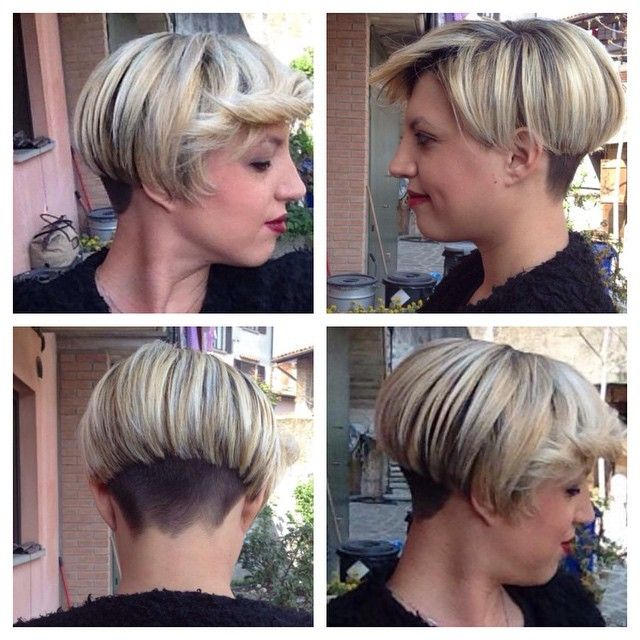Short Asymmetrical Undercut Inverted Bob With Interesting