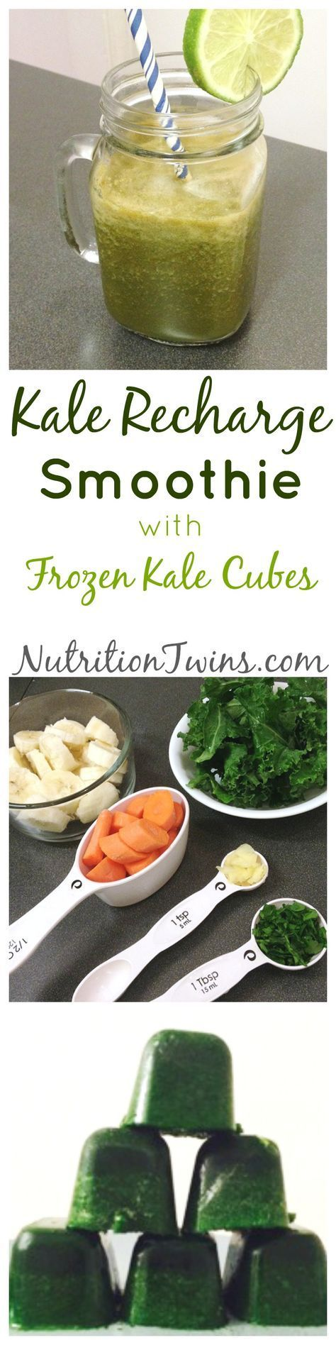 Kale Recharge Smoothie | Flush bloat & flood body with Anti- oxidants | Kale and Spinach Cubes | Super Easy to Make | Simple way to boost nutrients-- toss in soup, smoothies, etc! | For MORE RECIPES, fitness & nutrition tips please SIGN UP for our FREE NEWSLETTER www.NutritionTwins.com