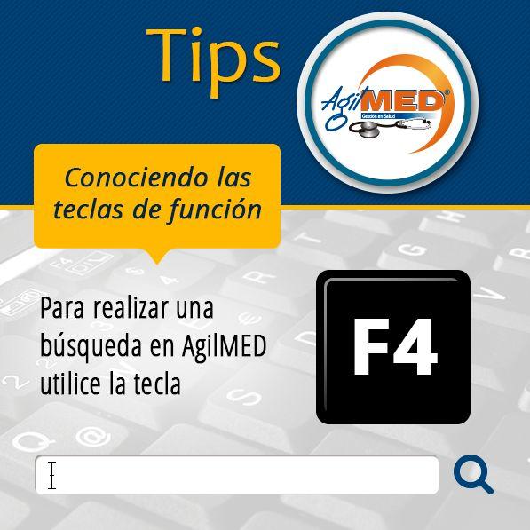 #Tips #AgilMED Si deseas realizar alguna búsqueda en AgilMED, usa la tecla de función F4