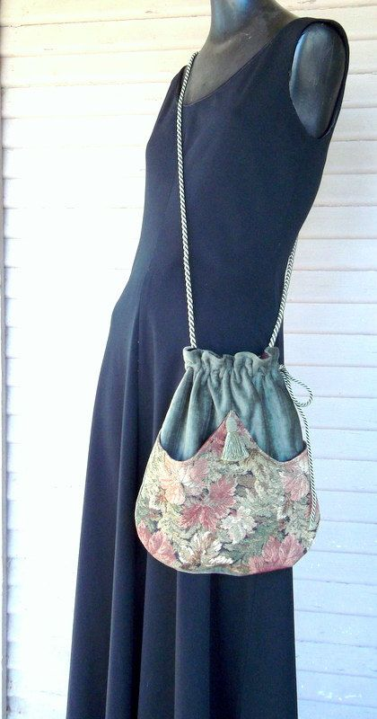 Tapestry Pocket Bag Green Chenille Renaissance Bag Boho Bag. $40.00, via Etsy.
