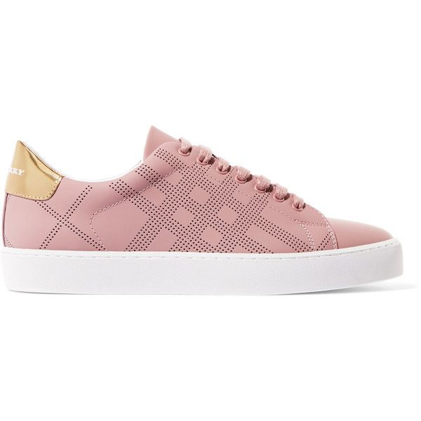 Burberry Metallic-trimmed perforated leather sneakers (6,180 EGP) ❤ liked on Polyvore featuring shoes, sneakers, antique rose, leather trainers, perforated shoes, leather sneakers, burberry trainers and burberry