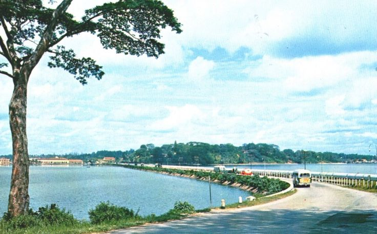 The Causeway Across the Straits of Johore, circa 1955-57.