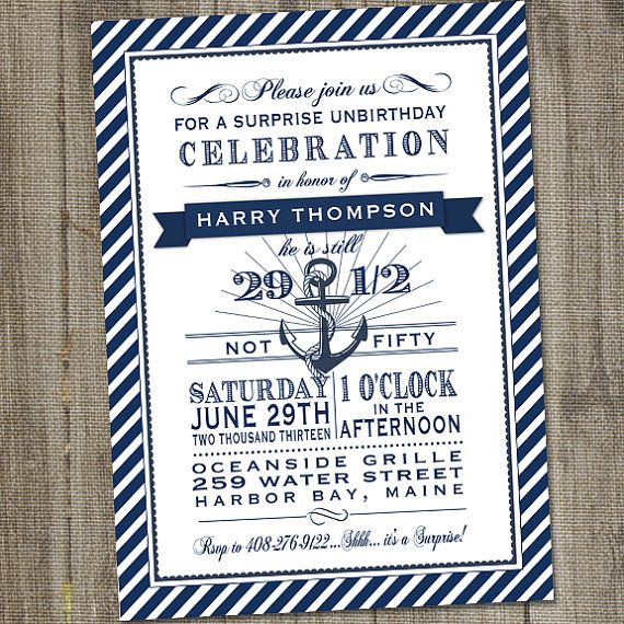 Navy and White Nautical 50th Surprise Birthday by partymonkey, $15.00