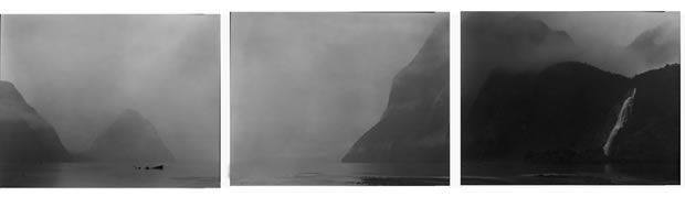 Mark Adams, Pioptiohai-Milford Sound, Atawhenua - Fiordland 1992, gelatin silver photograph, from Land of Memories: Scarred by People.