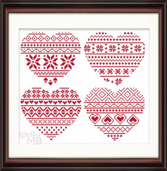 This is a listing for a digital cross stitch pattern - Fair Isle Hearts Fancy feeling cozy? Want your home to look warm and inviting? Stitch this collection of 4 Fair Isle hearts to introduce some hygge into your hearth. Evoking the feeling of coziness and the softness of knitted jumpers, these fair isle hearts will bring some Scandinavian air into your decor. Not only just festive, they will look great as wall pictures or cushion covers throughout the entire year. There are many…