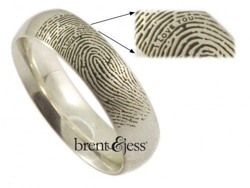 Nice Secret Message Custom Comfort Fit Low Dome MM Exterior Fingerprint Ring in Sterling Silver by Brent u Jess Custom Handmade Fingerprint Wedding Rings and