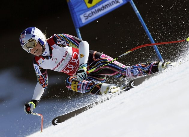 Lindsey Vonn from the U.S. speeds down the slope during the women's Alpine Skiing World Cup Super G race in Schladming March 15, 2012.