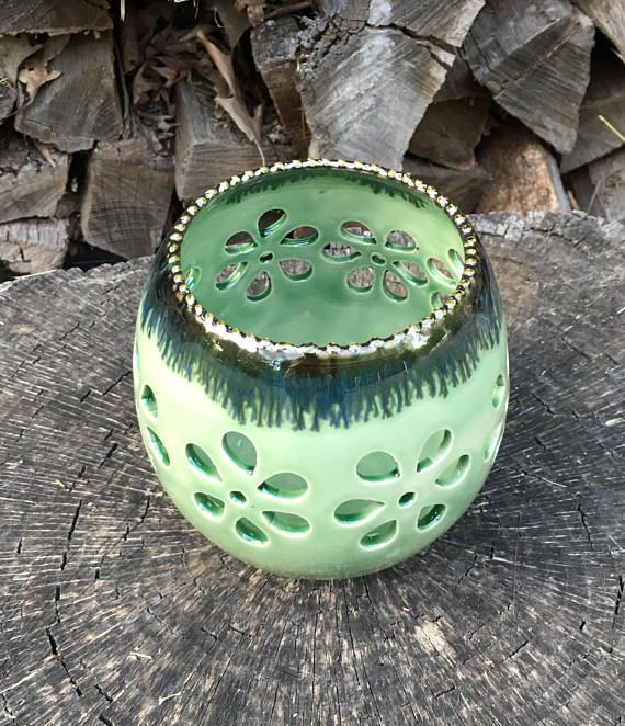 Candle holder green luminary tealight holder green candle