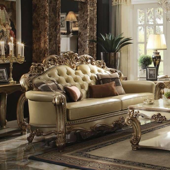 Bone Pu Gold Patina Sofa Set 5pcs Vendome 53000 Acme Traditional