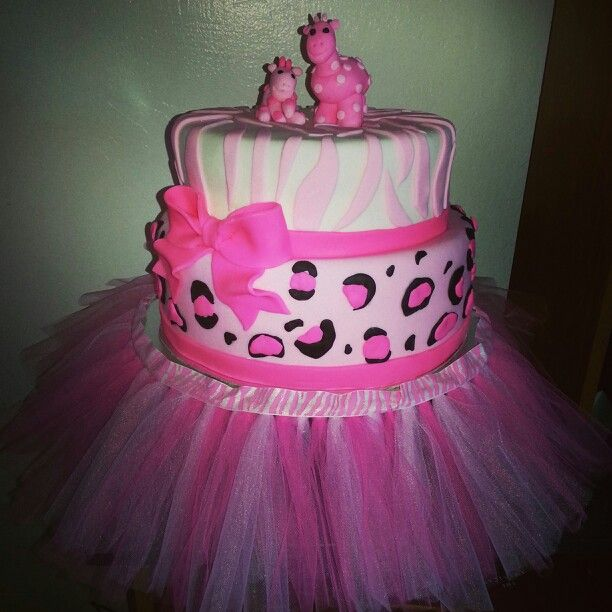 Girl Safari Theme Baby Shower Cake