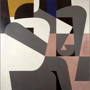 "Eroticon | Ερωτικό | 1990 | Athens (GR) | Oil on canvas  | ""seeking a geometric ideogram for love"""