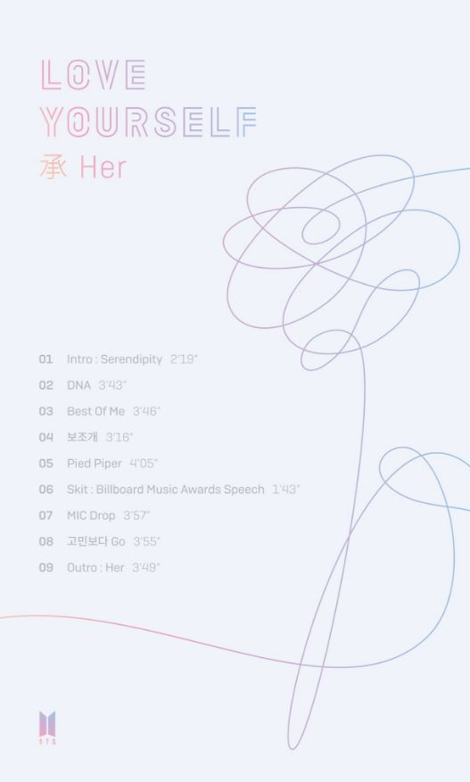 BTS release track list for 'Love Yourself: Her' | allkpop.com