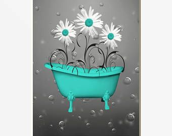 Turquoise Bathroom Powder Room Wall Art, Daisy Flowers, Butterflies, Bubbles, Turquoise Home Decor Picture