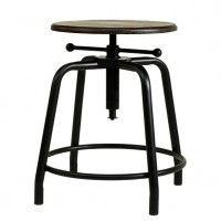 Industriehocker im Vintage Design ist höhenverstellbar, aus Eisen und Holz. Der Retro Stil Hocker ist für zuhause und Cafes. Vintage Stil Möbel kaufen bei Fabrikschick.de