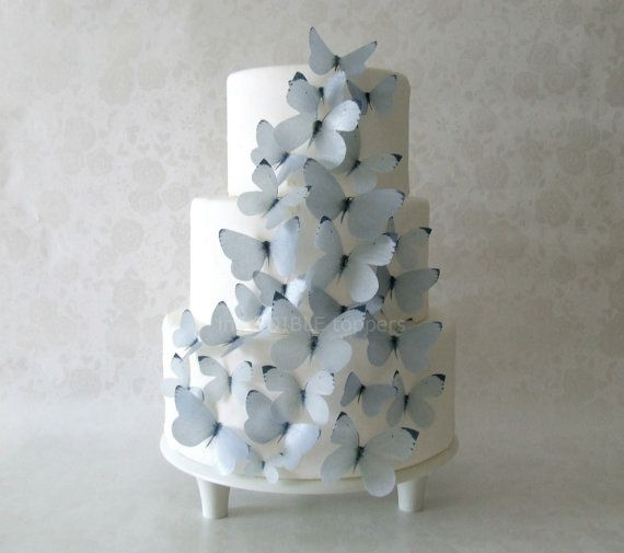 CAKE TOPPER - 30 Gray Edible Butterflies - Cake Decorations. Would be gorgeous on cupcakes or cookies.