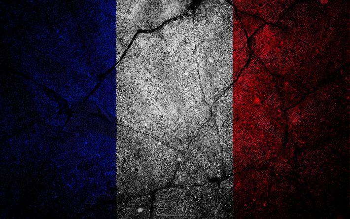 Herunterladen hintergrundbild französische flagge, grunge, flagge, frankreich, kunst, stein, textur, symbolik