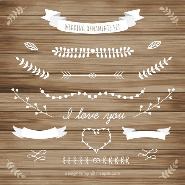 Blanc ornement de mariage de collection de feuilles Vecteur gratuit