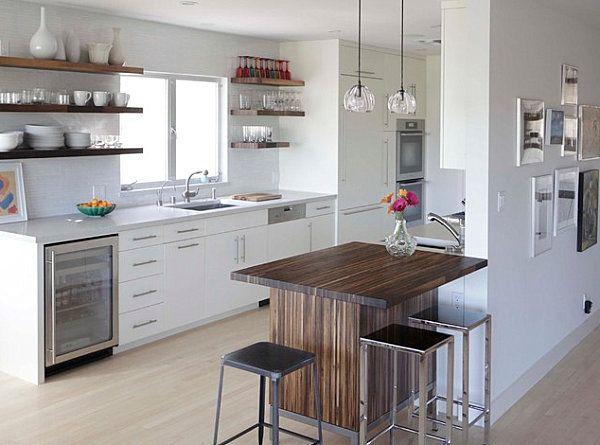 Stylish Breakfast Bar Design for Modern Kitchen: Small Wooden Breakfast Bars Metal Bar Stools Modern Kitchen ~ nox-mag.com Kitchen Design Inspiration