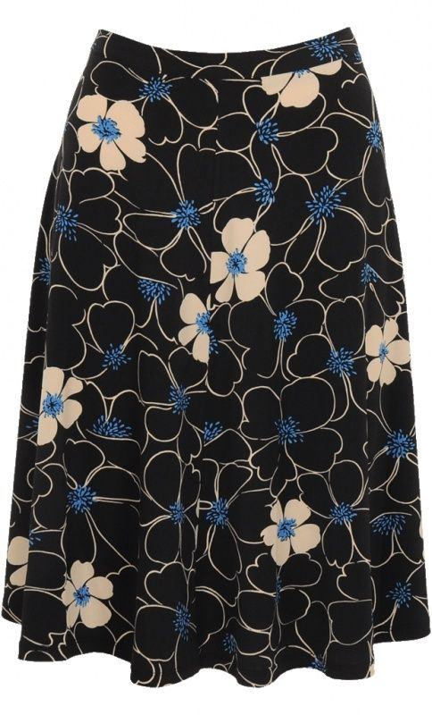 Circle Skirt Victoria black: Soepele, wijduitlopende rok met mooie bloemenprint. Met een smalle tailleband, ritssluiting en knoopje achter. 90% polyester 10% spandex.  Smooth, flared skirt with pretty floral print. With a thin waistband, zip and button back. 90% polyester 10% spandex.