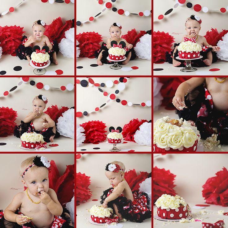 Minnie Mouse Cake Smash Session.  #oneyearold #disney #caskesmash #minnie #minniemouse #cake #childrenphotography #savannahga #savannahphotographer #gaphotographer #hiltonhead #savannah