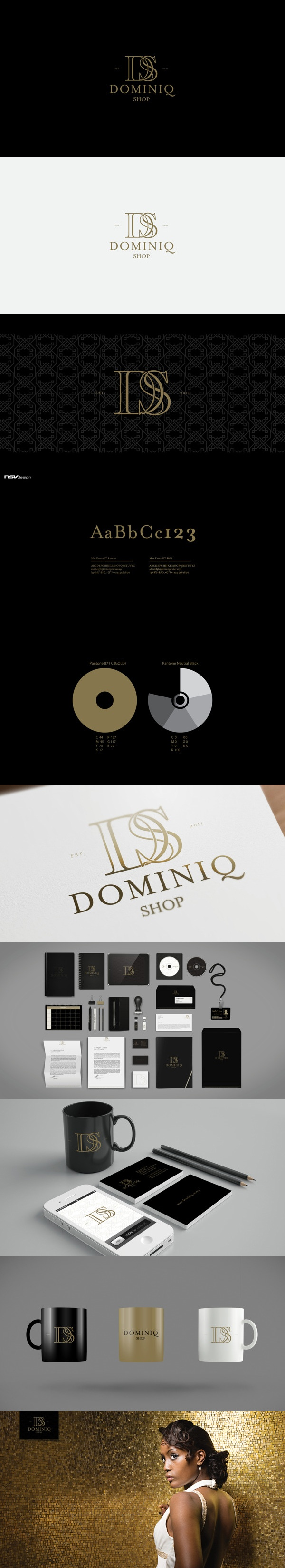 This is the corporate identity commissioned for Dominiq Shop which is sells mainly high quality dresses for all occasions. The identity should have a classical look, yet modern and transmit the sense of quality. It should appeal for all women both old and young looking for ready made dresses of high quality and design.