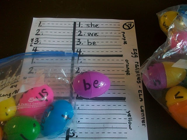 Word family eggs with worksheet idea