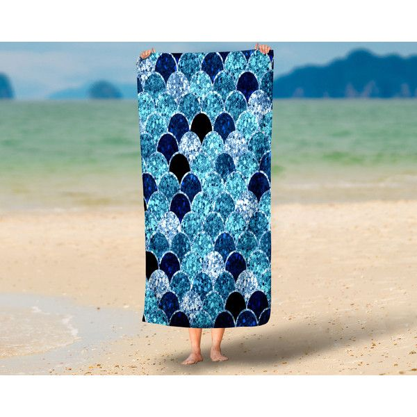 Mermaid Scales Beach Towel Oversized 36 in X 72 In ($48) ❤ liked on Polyvore featuring home, bed & bath, bath, beach towels, bathroom, grey, home & living, mermaid beach towel and oversized beach towels