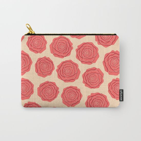 Roses Pattern Carry-All Pouch #roses #flowers #art #illustration #botanical #nature #red #blossom #floral #faerieshop #pink #pattern #beige #delicate #cute #pastel #trendy #girly #girlish #romantic #vintage #cool #accessories #society6 #redbubble #home #decor #decoration #woman #present #gift #idea
