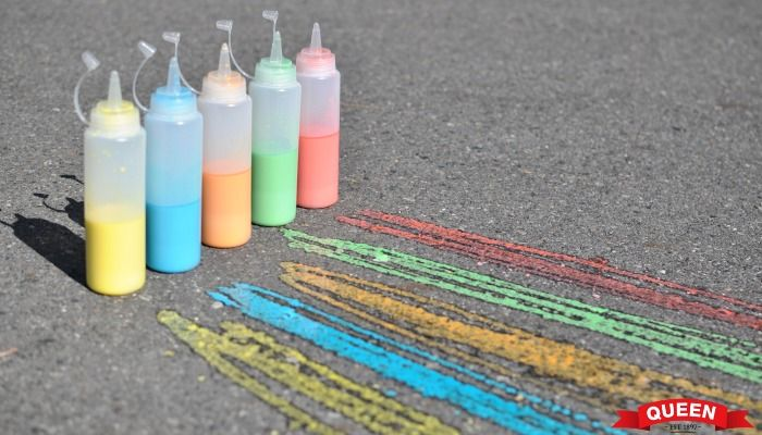 Squirty footpath chalk - a great activity for the kids made using Queen Find Foods Gel Food Colours