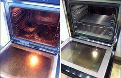 Limpieza del horno. Necesitas: ¼ de taza de bicarbonato de sodio, 250 ml de amoniaco , 1000 ml de agua hirviendo y 2 recipientes a prueba de horno
