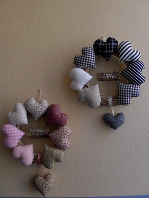 Stuffed Fabric Heart Wreath
