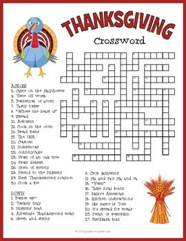 With 34 clues, this Thanksgiving crossword puzzle activity will have them scratching their heads for a while.