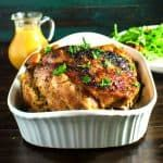 Slow braised Pork at a low temp & roasted with apples & pear cider with plenty of herbs & spices - moist, tender, flavorful. Less than 30 mins of prep time!