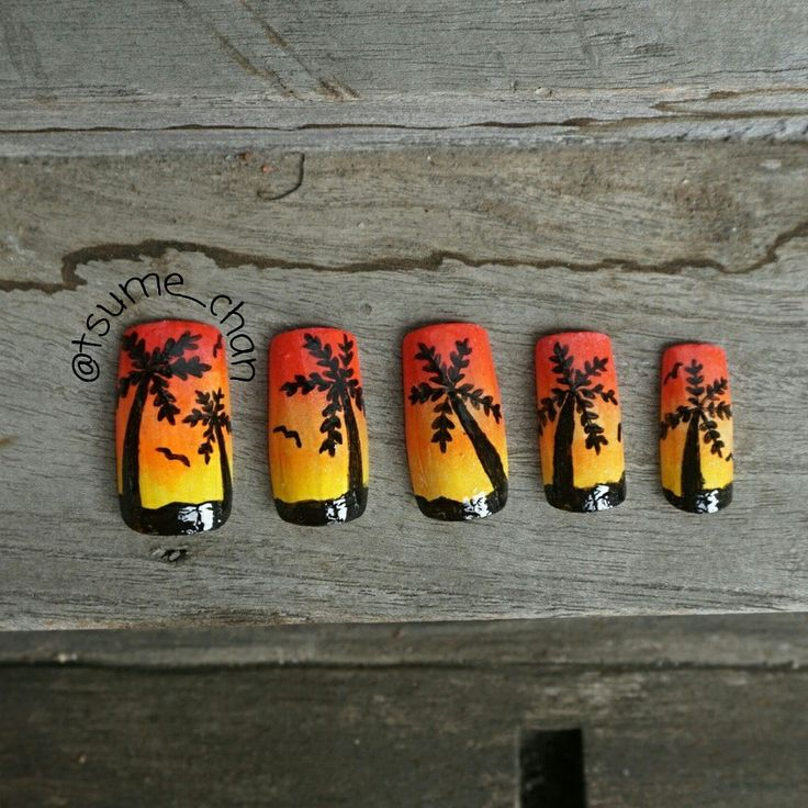 Sunset on the beach Nails.