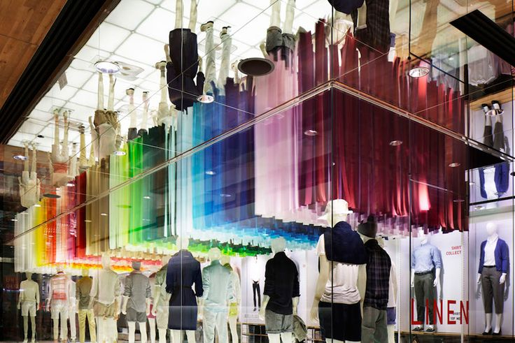 emmanuelle moureaux blows colorful wind into UNIQLO ginza store, tokyo, japan