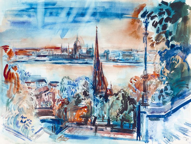 HINCZ GYULA - Aquarelle: Amazing view from the castle district in Budapest, showing the Danube and the Parliament. by Kieselbach Gallery