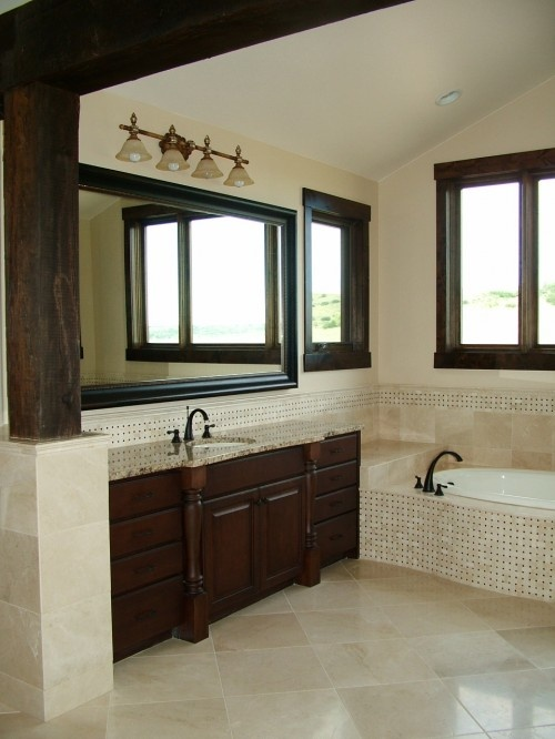 color: Bathroom Design, Tile Design, Small Bathroom, Masterbath, Kitchens Tile, Dark Wood, Master Bath, Traditional Bathroom, Bathroom Ideas