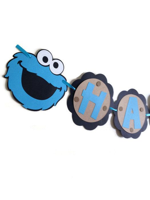Cookie Monster Happy Birthday Banner - first birthday banner - party decorations -baby shower banner - child's birthday banner - baby shower by Fun4AllOccasions on Etsy https://www.etsy.com/listing/218093882/cookie-monster-happy-birthday-banner