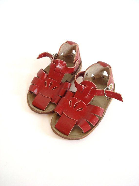 Soviet design sandals for kids, red leather, USSR 1960's. $24.00, via Etsy.