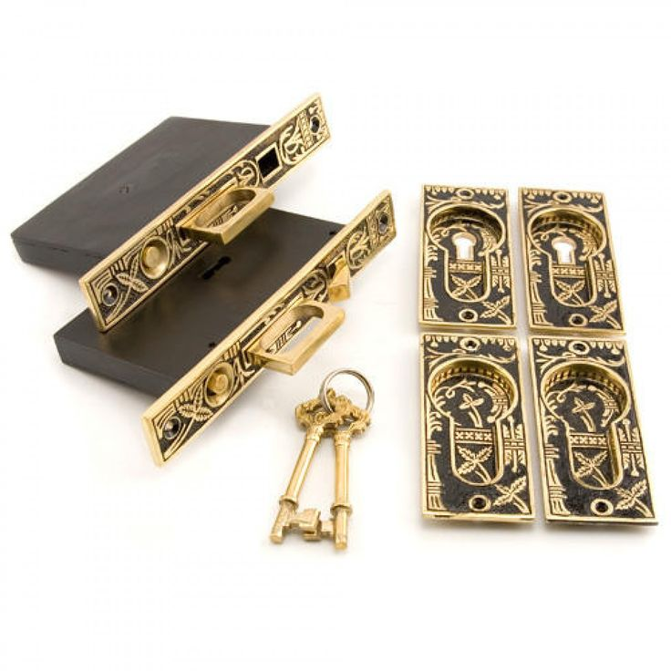 Leaf Double Pocket Door Mortise Lock - Privacy - Blackened Brass - Door Handles and Locksets - Hardware