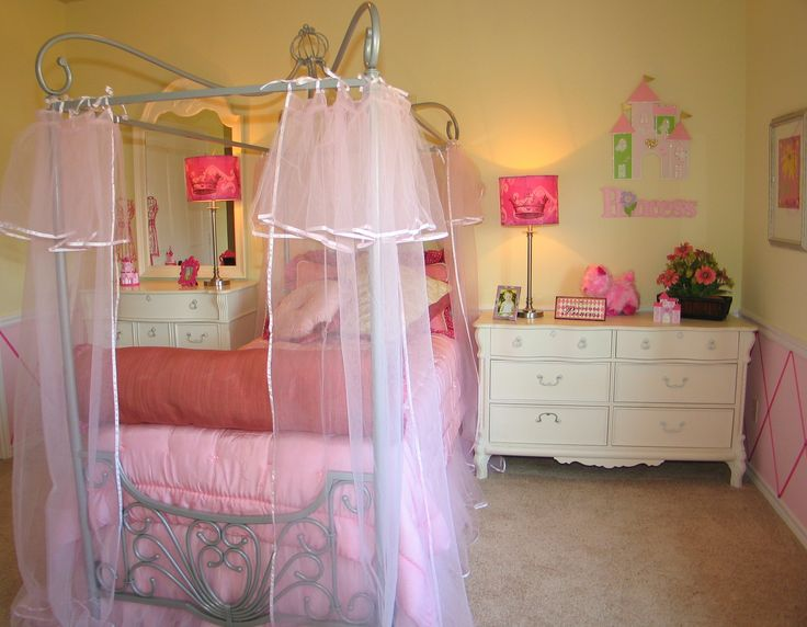 Enchanting Room With Grey Stainless Steel Carving Bed Also Smooth Pink  Transparent Curtains Completed By Pretty Pink Table Lamp On White Wood  Chest Of ...