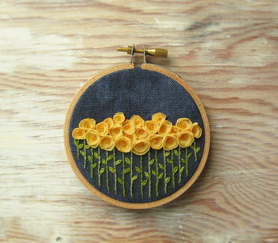 Yellow Flowers Embroidery Hoop Wall Decoration on Etsy, $55.90 AUD