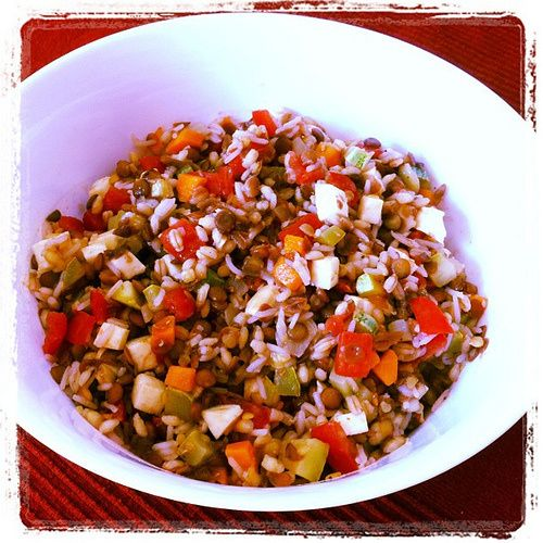 Insalata di lenticchie, grano e riso con verdure croccanti - Lentil salad  with wheat, rice and crispy vegetables