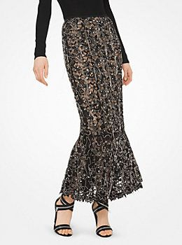 Embroidered Floral Guipure Trumpet Skirt