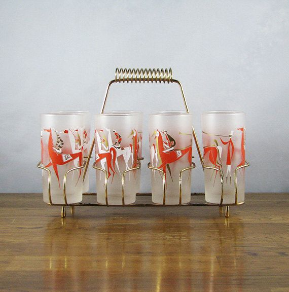 Reserved Mid Century Racehorse Gles Longchamps By Libbey Red White And Gold Frosted Barware