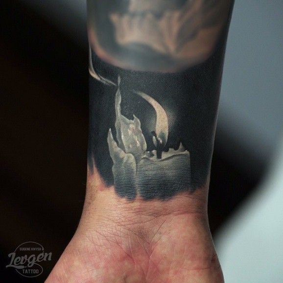 Probably one of the most amazing candle tattoos seen so far... By Levgen.